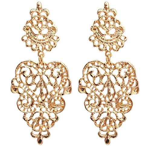 2LIVEfor Traumhafte Ohrringe Ethno Gross verziert Ohrringe Bohemian Vintage Ohrringe lang Hängend Antik Style Ornamente Barock Tropfen (silber)