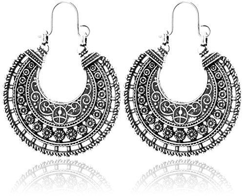 2LIVEfor Traumhafte Ohrringe Ethno Gross verziert Ohrringe Bohemian Vintage Ohrringe lang Hängend Antik Style Silber Ornament Rund (Zeichen, Formen & Symbole)