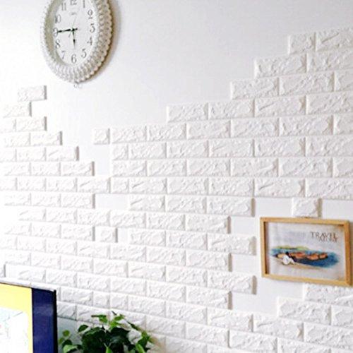 3D-Backstein-Muster-Tapete Wandaufkleber , 3D kreative DIY selbstklebende Schaumstoff PE Nachahmung Ziegelsteinmuster Tapeten, Polstersofa TV Hintergrund Arbeitszimmer Schlafzimmer Wohnzimmer Büro zu Hause Dekoration