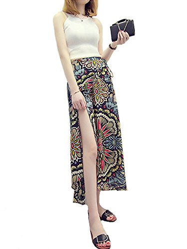 AMORETU Damen Boho Print Hoch Taillierte Strand Lange Maxi Röcke