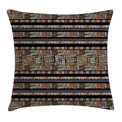 African Überwurf Kissen Kissenbezug, Handgezeichnetes afrikanischen Ethno Muster in Grunge Style Gestreift Design Print, Dekorative Quadratisch Accent Kissen Fall, braun schwarz gelb