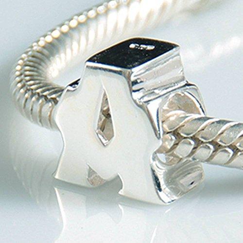 Alphabet-Anhänger, Anfangsbuchstabe, A-Z, aus 925er-Sterlingsilber, silberne Perlen, passend für Pandora-Anhängerarmbänder
