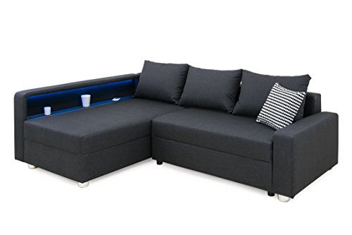 B-famous 101146 Enjoy Polsterecke mit Bettfunktion und Bettkasten Ecksofa, Stoff, Anthrazit, 161 x 224 x 84 cm