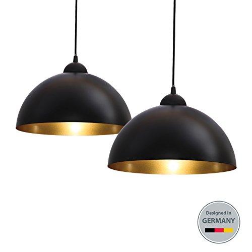 B.K.Licht Design 2x Industrielle Vintage LED Pendelleuchte Hängeleuchte Φ 30cm für E27 Leuchtmittel, schwarz und weiß wählbar, für Wohnzimmer Esszimmer Restaurant Keller Untergeschoss usw.