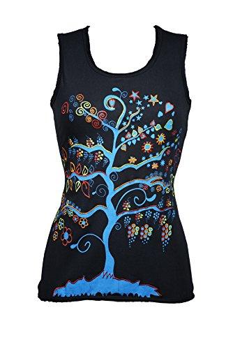 Bezauberndes ethno Top mit bunten Stickereien & Lebensbaum Motiv - Hippie Chic - Yoga - 100% Baumwolle - SHANKARA (blau)