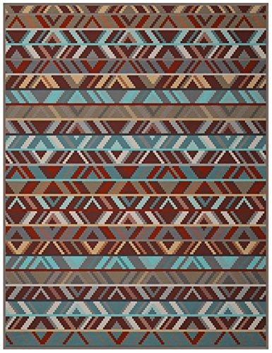 Biederlack Wohn- und Kuscheldecke, 60% Baumwolle, Samtband-Einfassung, 150 x 200 cm, Braun/Türkis, Exquisite Cotton Ethno, 646163