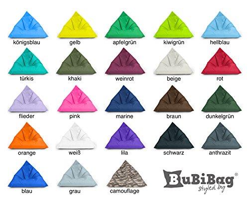 BuBiBag Sitzsack Dreieck Beanbag Sitzkissen für In & Outdoor 100x70x70cm bis 160x120x120cm mit Styropor Füllung in 23 versch. Farben