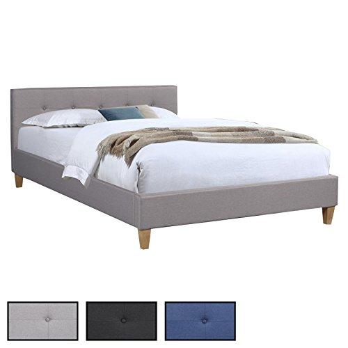 CARO-Möbel Polsterbett Adele Bettgestell 140x200 cm Doppelbett Designbett, Inklusive Rollrost, Stoffbezug in 3 Farben