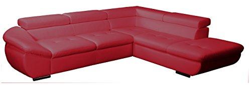 CAVADORE Polsterecke Astra/3er Bett mit Kopfteilverstellung-Ottomane mit Bettkasten und Kopfteilverstellung/273x68-84x229 cm/Kunstleder Bison loud red