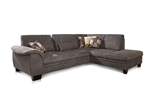 Cavadore 3-Sitzer Couch Hussum / Polsterecke mit Federkern in Wildlederoptik / Inkl. Ottomane rechts und Sitztiefenverstellung