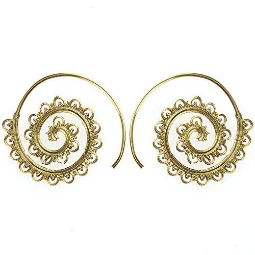 Chic-Net Spiralen Ohrringe Dreiecke Bögen Kerbe Messing Brass antik golden nickelfrei Piercing Tribal Schmuck