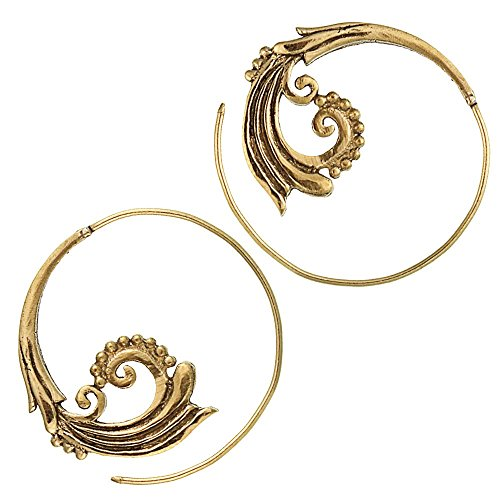 Chic-Net Spiralen Ohrringe Ornamente Messing Brass antik golden nickelfrei Piercing Tribal