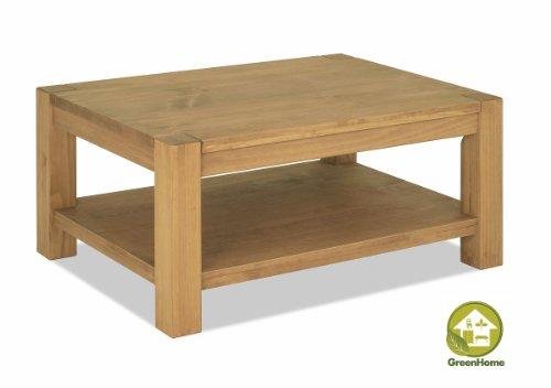 Couchtisch Beistelltisch mit Ablage ,,Rio Bonito,, 100x70cm, Höhe wählbar, Pinie Massivholz, geölt und gewachst, Wohnzimmer Tisch Farbton Honig hell