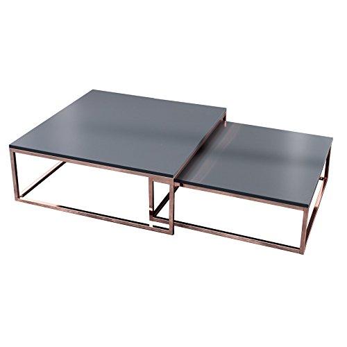 Design Couchtisch 2er Set BIG FUSION anthrazit kupfer Satztische Wohnzimmertisch Tischset