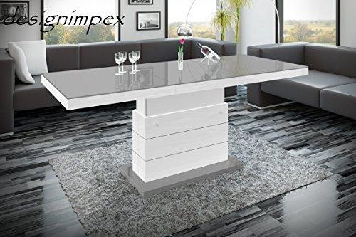 Design Couchtisch Matera Lux H-333 Grau/Weiß Hochglanz höhenverstellbar ausziehbar