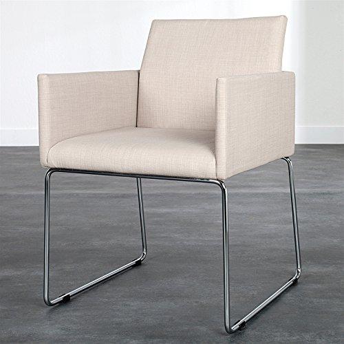 Design Stuhl Conference mit Stoffbezug und Armlehnen Creme