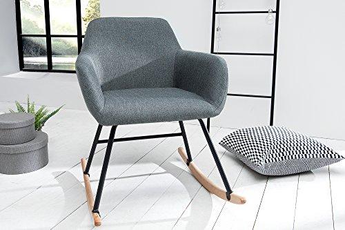 DuNord Design Schaukelstuhl Sessel grau Schwingsessel Relaxstuhl dunkelgrau Schwingstuhl JEGUM Polstersessel Polsterstuhl