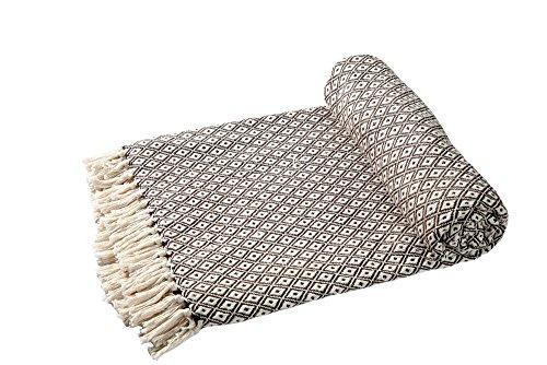 EHC Tagesdecke Decke Super Weiche Baumwolle Große wendbar Double Sofa überwürfen Bett Stuhl Bezug 150x 200cm, braun