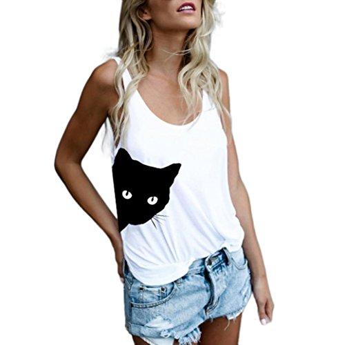 ESAILQ Mode Frauen Cat Print Casual Tank Top Bluse Ärmelloses O-Ausschnitt T-Shirt