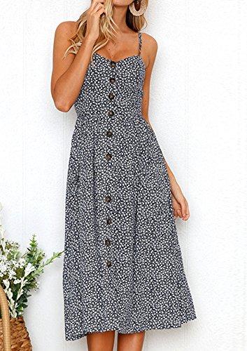 Ehpow Sommerkleid Damen V Ausschnitt Trägerkleid Spaghetti Buegel Blumen Sommerkleid