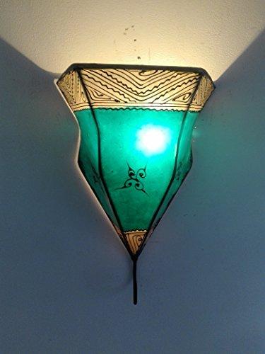 Ethno Einrichtung Wandleuchte Lampe Laterne aus Eisen und Leder Handbemalt Henna 1525C2Marokko morocchina Ethnic Arabischen Tausend und Eine Nacht