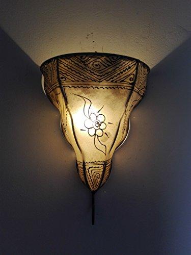 Ethno Einrichtung Wandleuchte Lampe Laterne aus Eisen und Leder handbemalt Henna 1456C1Marokko morocchina Ethnic arabischen Tausend und eine Nacht