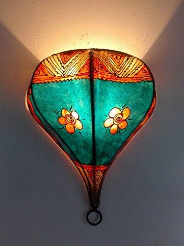 Ethno Einrichtung Wandleuchte Lampe Laterne aus Eisen und Leder handbemalt Henna 1515C2Marokko morocchina Ethnic arabischen Tausend und eine Nacht