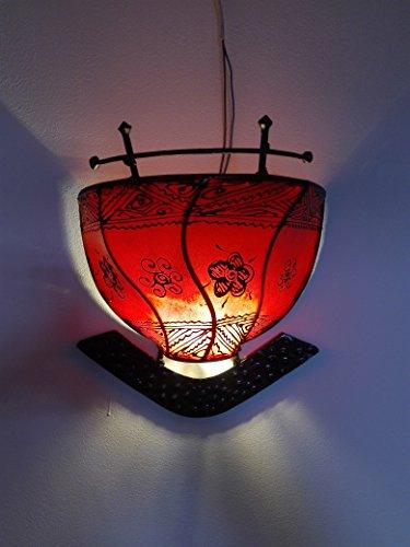 Ethno Einrichtung Wandleuchte Lampe Laterne aus Eisen und Leder handbemalt Henna 1616C3Marokko morocchina Ethnic arabischen Tausend und eine Nacht