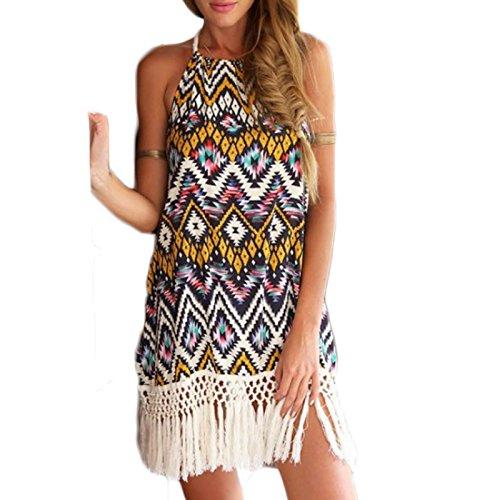 Frauen Mode ärmellos Rückenfrei Trägerlos Print Gemustert Ethno Fransen Beachwear Minikleid Neckholderkleider Kleid Freizeitkleider