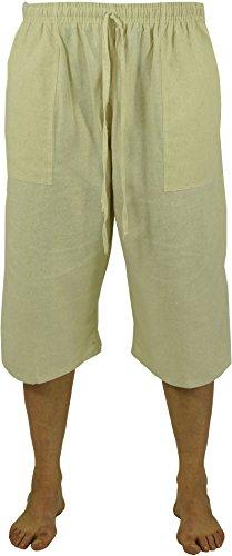 Guru-Shop 3/4 Yogahose, Goa Hose, Goa Shorts, Herren Shorts, Beige, Baumwolle, Size:50, Männerhosen Alternative Bekleidung