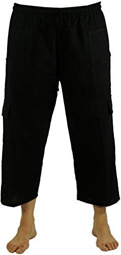 Guru-Shop 3/4 Yogahose, Shorts, Cargo Hose, Goa Hose, Herren, Schwarz, Baumwolle, Size:50, Männerhosen Alternative Bekleidung