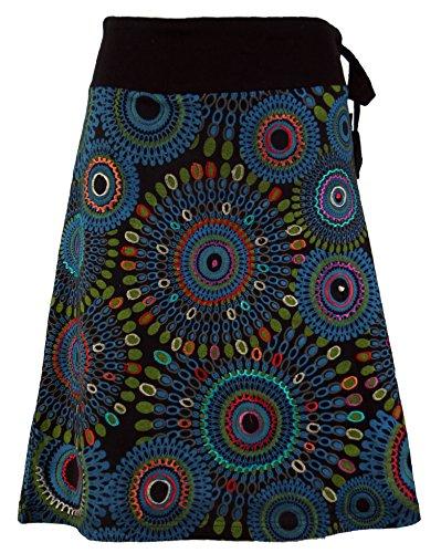 Guru-Shop Bestickter, Knielanger Rock, Boho Chic, Retro Mandala, Damen, Baumwolle, Kurze Röcke Alternative Bekleidung