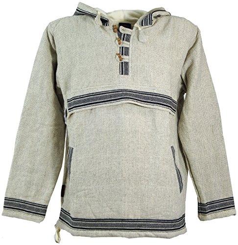 Guru-Shop Goa Kapuzenshirt, Baja Hoody - Leinenfarben, Herren, Sweatshirts & Hoodies Alternative Bekleidung