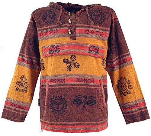 Guru-Shop Goa Kapuzenshirt, Baja Hoody Nepalhoodie, Herren, Baumwolle, Sweatshirts & Hoodies Alternative Bekleidung