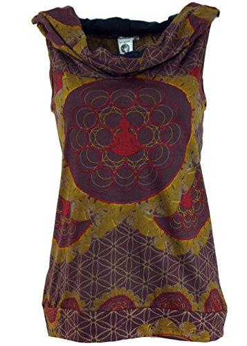 Guru-Shop Kapuzen Buddha Mandala Tank Top, Goa Festivaltop, Damen, Baumwolle, Tops, T-Shirts, Shirts Alternative Bekleidung