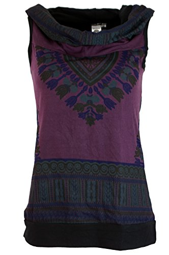 Guru-Shop Kapuzen Dashiki Tank Top, Goa Festivaltop, Damen, Baumwolle, Tops, T-Shirts, Shirts Alternative Bekleidung