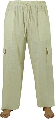 Guru-Shop Leichte Yogahose, Thai Chi Hose, Goa Hose, Freizeithose, Herren, Beige, Baumwolle, Size:52, Männerhosen Alternative Bekleidung