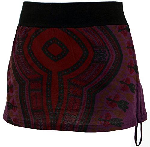 Guru-Shop Minirock, Dashiki Yogarock, Damen, Violett, Baumwolle, Size:36, Kurze Röcke Alternative Bekleidung