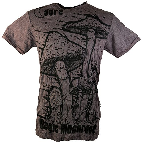 Guru-Shop Sure T-Shirt Magic Mushroom, Herren, Baumwolle, Bedrucktes Shirt Alternative Bekleidung