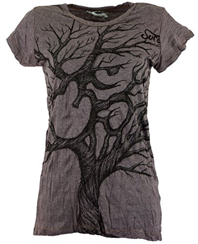 Guru-Shop Sure T-Shirt Om Tree, Damen, Baumwolle, Bedrucktes Shirt Alternative Bekleidung