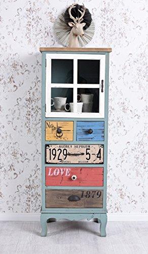 Hochschrank Vintage Schrank Kommode Loft Vitrine Vitrinenschrank Retro Palazzo Exklusiv