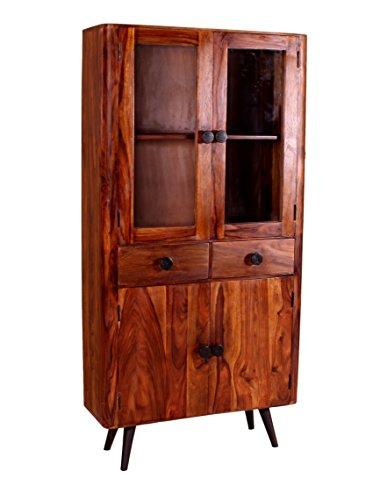 Holz-Schrank natur aus Sheesham-Holz mit 4 Türen und 2 Schubladen 90x40x190 cm | Nub | Hoch-Schrank mit Metallbeinen in antik-schwarz und Glaseinsatz 4-türig 90cm x 40cm x 190cm