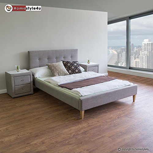 Homestyle4u 1730 Polsterbett mit Lattenrost, Rückenlehne 140 x 200 cm, Grau