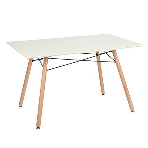 Ihouse Esstisch, skandinavischer Retro-Stil, moderner Esstisch, rechteckig, weiß
