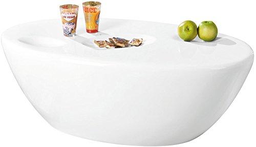 Inter Link 20801320 Couchtisch weiß hochglanz Beistelltisch Wohnzimmer Tisch mit Ablagemulden 108x60