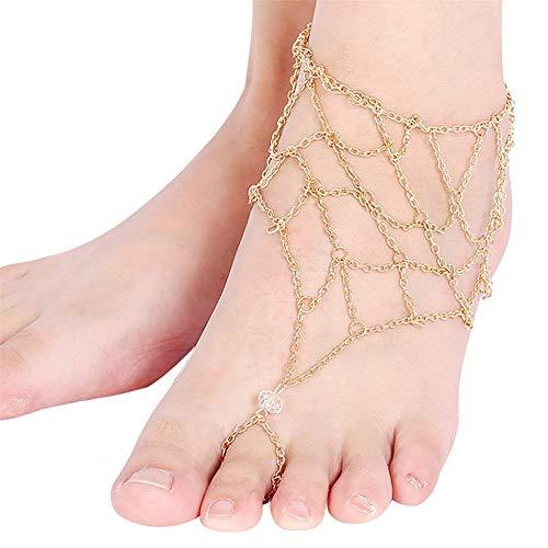 Knncch Europäische und Amerikanische Mode Fußkettchen Sommer Strand Übertrieben Diamant Geometrie Mesh Finger Fußkettchen Frauen Zubehör