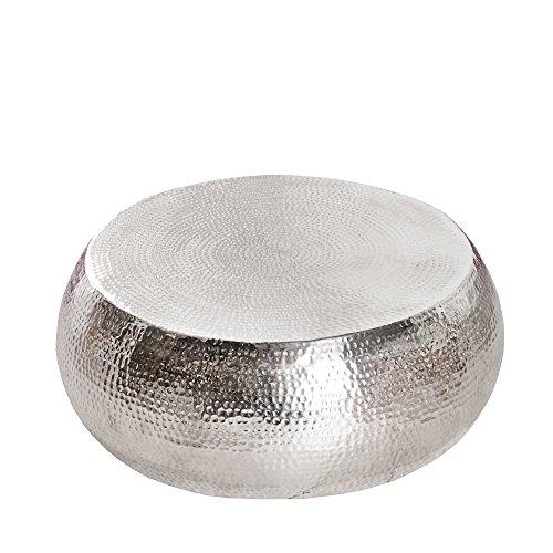 LivingArt24 Couchtisch Alvar 80 rund Aluminium silberfarbig Hammerschlag Beistelltisch Wohnzimmertisch