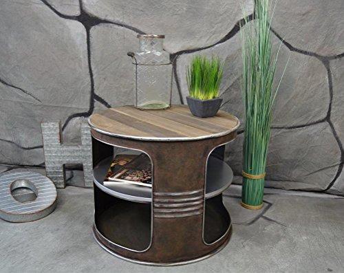Livitat Couchtisch Beistelltisch Weiß Metall Ölfass Vintage Industrie Look Loft Shabby