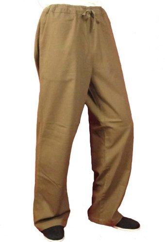 Maßgeschneiderte Braune Tai Chi Hosen Handgefertigt aus Premium Leinen #107