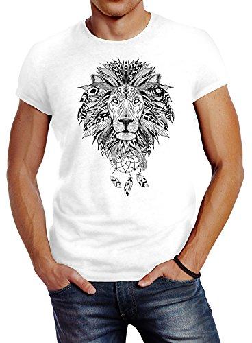 Neverless Herren T-Shirt Löwe Lion Ethno Atzekenmuster Boho Atzec Federn Traumfänger Dreamcatcher